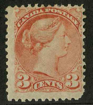 Canada #37a 3c Rose Sm. Queen -  P.11.9 x 12 First Ottawa Ptg VG-55 OG Mint