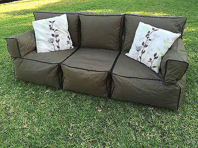 Sofa Bean Bag 3 Person Couch - Indoor Outdoor Water Resistant Lounge Pool Relax