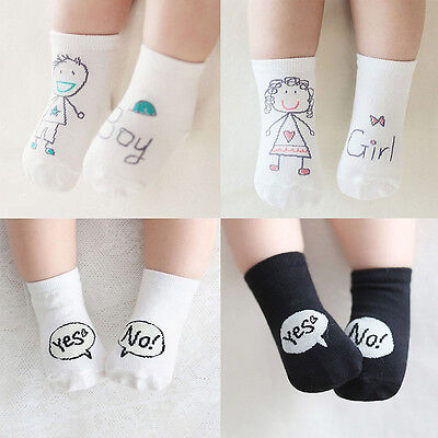 Cute Baby Socks Girl Boy Cartoon Cotton Socks Non-slip Infant Toddler Socks 0-4Y