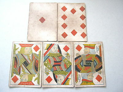 Poker Hand Square No Indice 1862 - 65 Antique Playing Cards Diamond Royal Flush