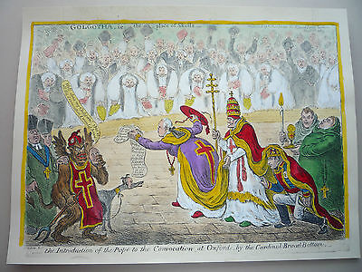 "James Gillray. "" The Introduction Of The Pope. ""  Rare. Pope Pius Vii"