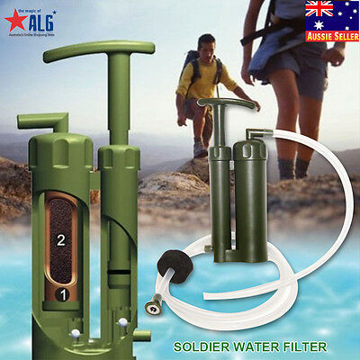 New Portable Army Soldier Hiking Camping Outdoor Survival Water Filter Purifier