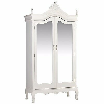 French White / Cream Chateau Shabby Chic Mirrored Double Armoire Wardrobe