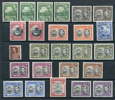 Grenada 1938-50 set plus all listed shades/perfs to 5s SG152/163e MM cat £206