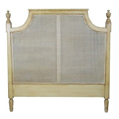 French Classical Style Vintage Rattan Wooden 4ft6 Double Bed Headboard Divan