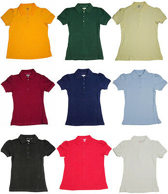 French Toast School Uniform Girls Short Sleeve Stretch Pique Polo (Sizes 4-20)