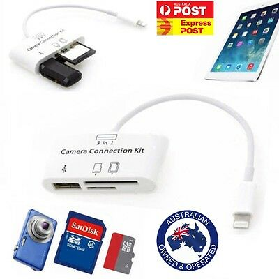 3 in 1 iphone Card Reader Camera Connector Ipad iPhone Air1/2/ Mini Pro IOS12