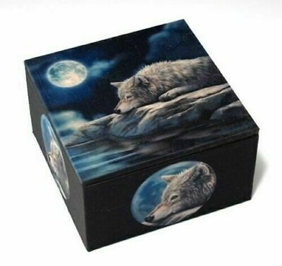 Quiet Reflection Wolf Trinket Box with Mirror by Designer Lisa Parker Nemesis