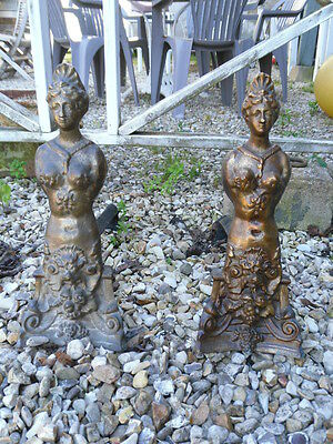 Antique French Cast Iron Fireplace two female bodies bronze