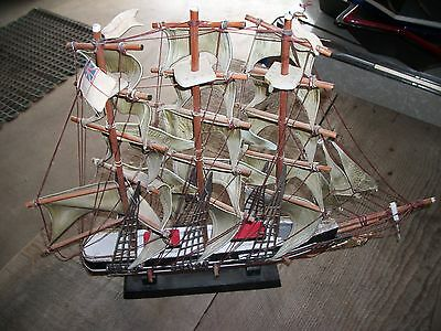 "Vintage CUTTY SARK Fabric & Wood Model Ship 20"" Long, 15"" Tall Boat -"