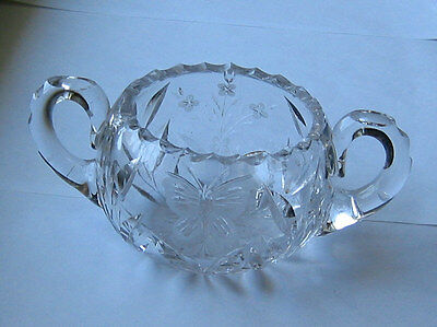 Cut Glass HANDLED SUGAR BOWL  -  FGC  c1930?  butterfly flowers leaves  2.75in
