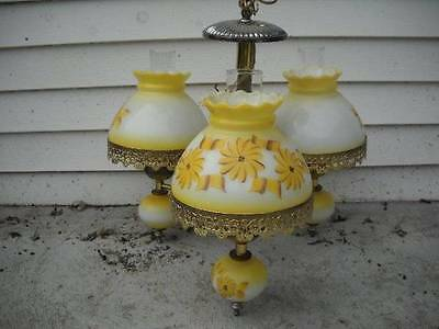 Antique Vintage Hurricane Lamp Style Chandelier with Floral Glass Shades 3 Lamps