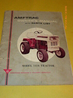 OEM AMFTRAC Model 1414 Owners and Parts Manual with Kohler Engine Manual