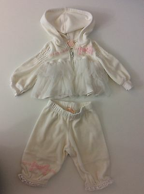 Kate Mack Baby Girls Tracksuit, Velour Size Age 12 Months, Cream & Pink, Vgc