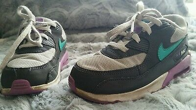 06ca2e113caa GIRLS NIKE AIR Max  90 Grey Teal Purple Running Toddler 408112-014 ...