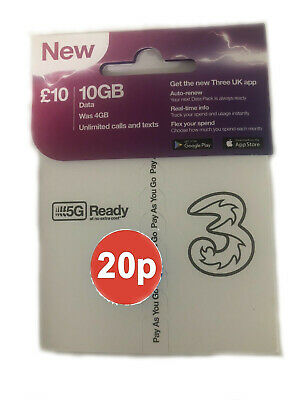 UK Three UK Triple cut SIM Card Standard/Micro/Nano pay as you go 3G 4G