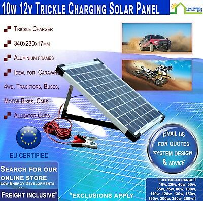 10W 12V Trickle Charger Solar Panel & 2 amp Regulator - USB - Freight Included!