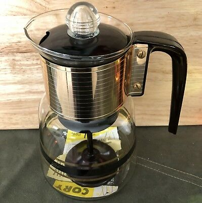 Vintage Cory Pyrex Gold Band Striped Glass Percolator Coffee Pot Instructions