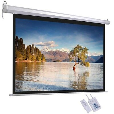 "72"" 4:3 Electric Projector Screen Home Cinema Projection w/ Remote Control Film"