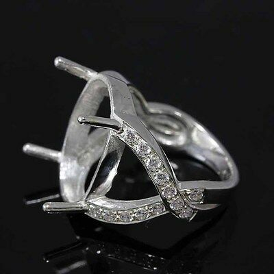 15x19 Oval Semi-mount ring setting for cabochon stone CZ silver 925 #312