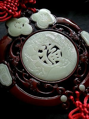 Fine vintage Chinese export LARGE hand carved JADE & RED SILK wall hanging