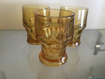 Anchor Hocking Honeycomb Gold Amber Drinking Tumbler Glasses