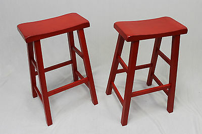 Ehemco 29 Saddle Seat Barcounter Stools In Red Set Of 2 8999