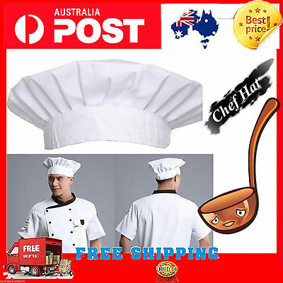 White Chef Beret Pastry Kitchen Bakers Hats Caps With Adjustable Velcro