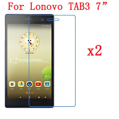 """2 x Ultra HD LCD Clear Screen Protector Film For Lenovo TAB3 7"""" Tablet + Cloth"""