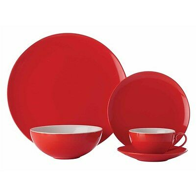 Maxwell & Williams Colour Basics Coupe 20 Piece Dinner Set Red Gift Boxed
