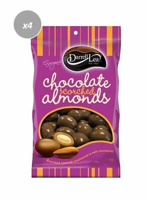 901907 4 x 110g BAGS OF DARRELL LEA MILK CHOCOLATE COATED SCORCHED ALMONDS