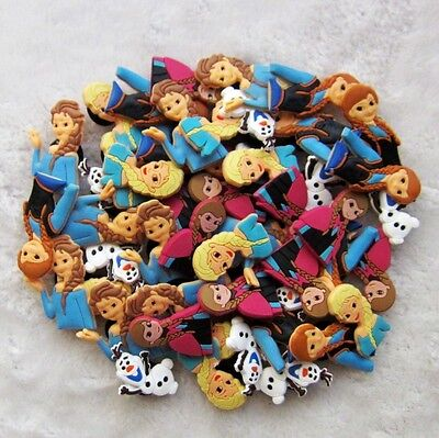 50pcs/Lot Princess Elsa Anna Olaf PVC Shoe Charms/Decorations Fit Croc/Jibbitz