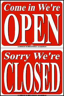 Tolles Wendeschild COME IN WE/'RE OPEN SORRY WE/'RE CLOSED blue