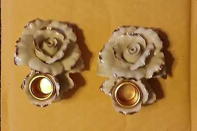 Avon Bone China Cream & Gold trim Rose Candle Holders