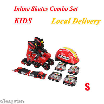 Kids Red Inline Roller Skates Combo Set Adjustable+ Helmet Gear Pads safety S