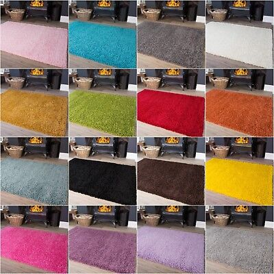 Soft Shaggy Rugs For Living Room Solid Colour Shag Rugs Non Shed Floor Carpets