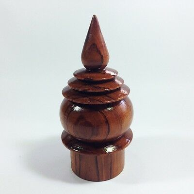 "NEW THAI FINIAL 1 LOTUS WOOD DECOR BUDDHISM ARCHITECTURAL 2""x5"""