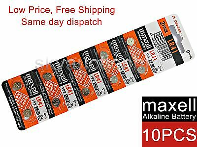 10x Maxell LR41 192 A63 AG3 384 1.5V cell coin button CALC battery Japan 12-2020