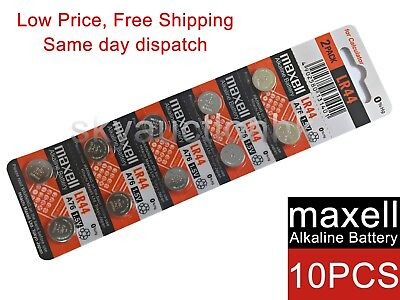 10x Maxell LR44 A76 AG13 D76A 1.5V cell coin button battery Ed 12-2022