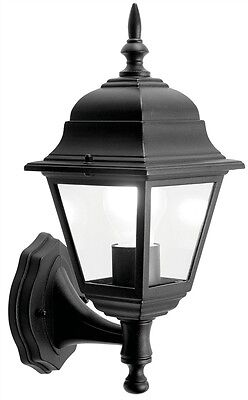 Black Wall Lantern Outdoors Garden Traditional Coach Lantern - Aluminium 4Sided