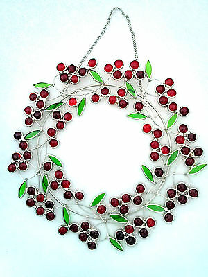 Stained Glass Red Berry Wreath Window Hanging