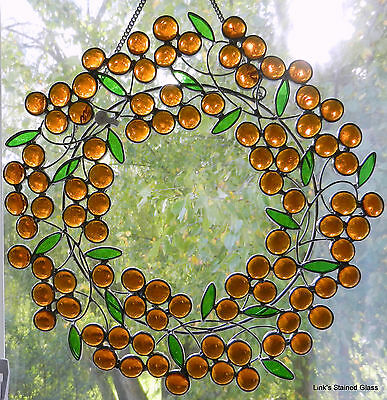 Stained Glass Amber Berry Wreath Window Hanging