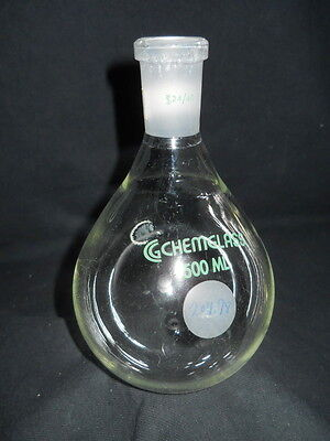 Chemglass 24/40 Joint Glass 500mL Rotary Evaporating Flask, Chipped