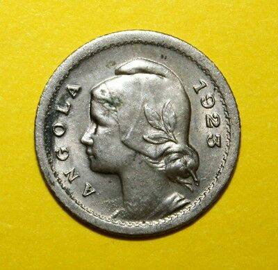Angola 10 Centavos 1923 Almost Uncirculated / Uncirculated Coin - Woman's Head
