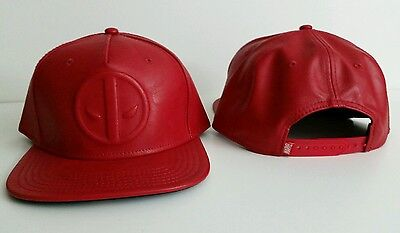 Marvel Comics Deadpool Logo Red Leather Baseball Trucker Cap Hat New Snapback