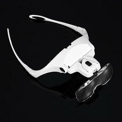 5 Lens 1-3.5X Bracket Headband Glasses Magnifier with 2 LED Lights Goggles W2R5