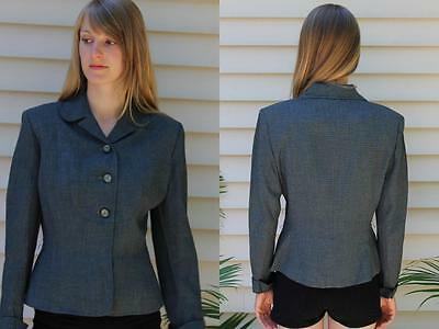 Vintage 1940s 1950s Woman's Blazer Jacket Peter Pan Collar Fitted Secretary S
