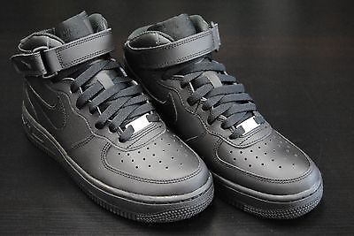 [314195 004] Kid's Gs New Nike Air Force 1 Mid All Black Grade School Youth Bk1