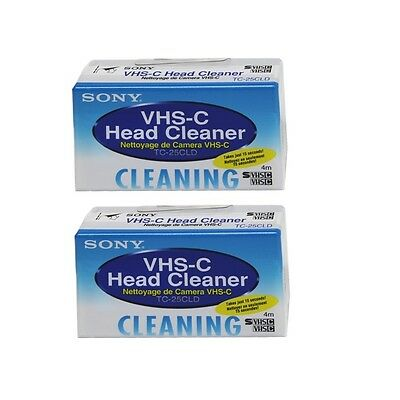 Sony TC-25CLD 2-Pack VHS-C Head Cleaner Cleaning Made in Japan TC25CLD