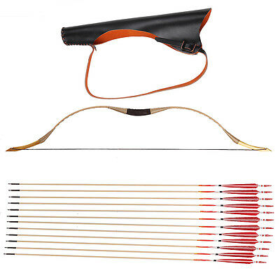 20-110IBS Longbow Pigskin Recurve bow Quiver and 12 arrows hunting + string